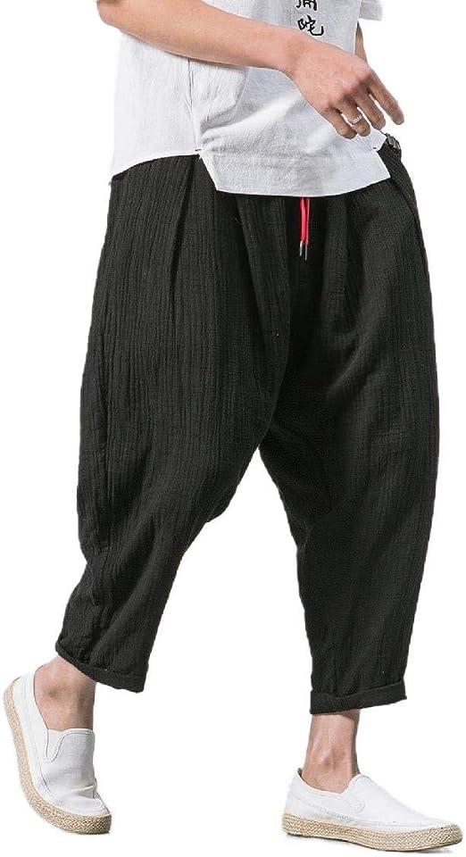 VITryst Men Relaxed Fit Waistband Stretchy Cotton Linen Wide Leg Pants