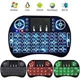 ZenzeComm LED Backlit Mini 2.4G Wireless Keyboard with Touchpad QWERTY Keyboard Air Mouse Combo Android TV Remote Control for Raspberry Pi 3, Smart TV, PS4, Xbox 360, PC, Pad, Google Android TV Box