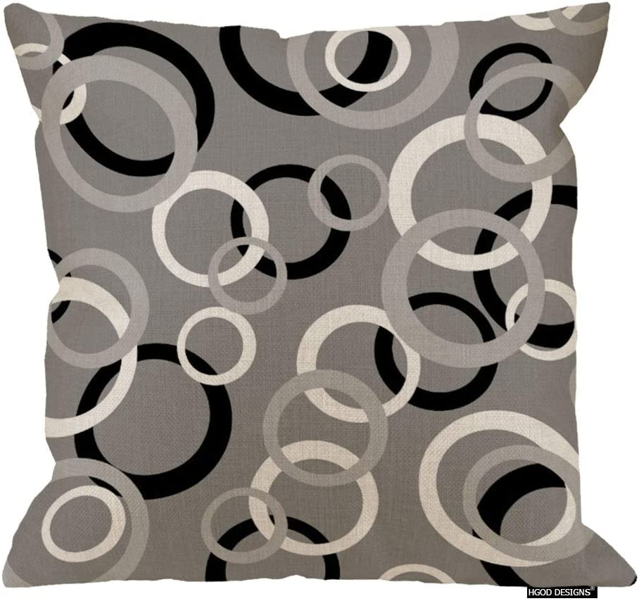 Amazon Com Hgod Designs White Gray And Black Circle Print Decorative Throw Pillow Cover Cushion Cover Home Office Square For Room Sofa 18 Inch Home Kitchen