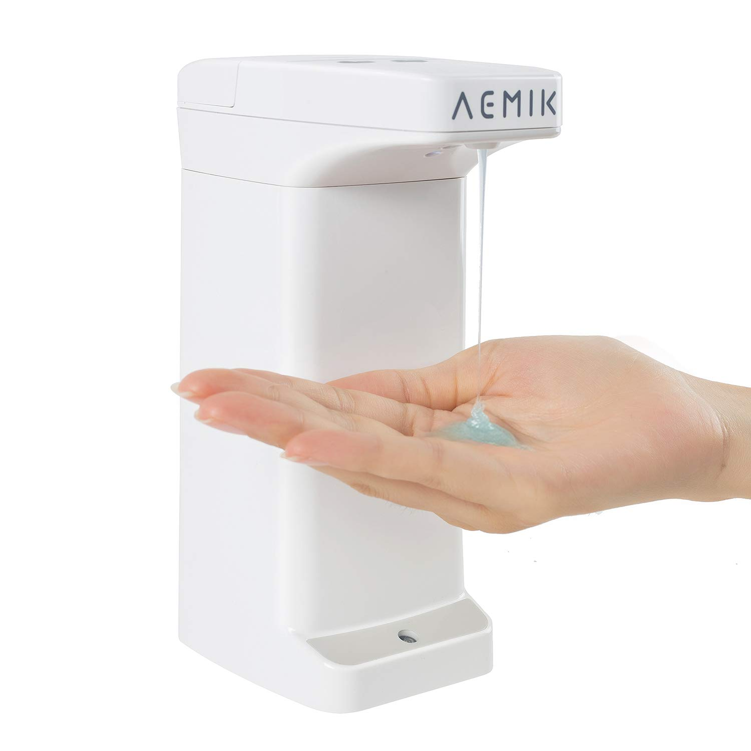 Auto Waterproof Soap Dispenser, AEMIK Touchless Auto Soap Dispenser with Detection and Adjustable Dispensing Volume Function, Hands-free Motion Sensor Liquid Dish Dispenser for Kitchen Bathroom
