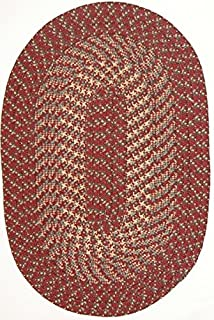 """product image for Hometown 8'6"""" x 11'3"""" (102"""" x 135"""") Oval Braided Rug in Colonial Red"""
