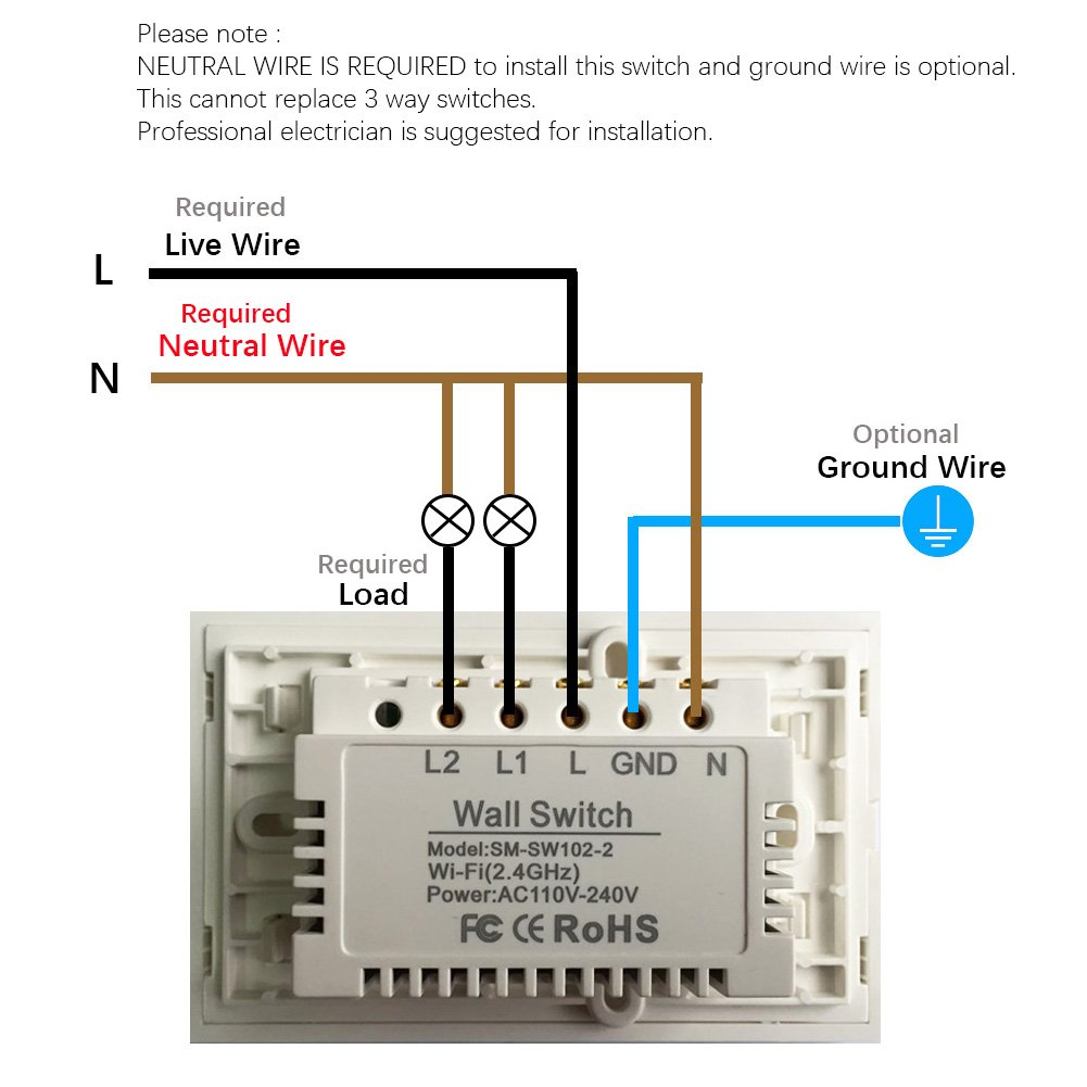 Wall Switches Wiring Not Lossing Diagram Light Switch Examples Smart Wifi Touch Panel Replace 2 Rh Amazon Com