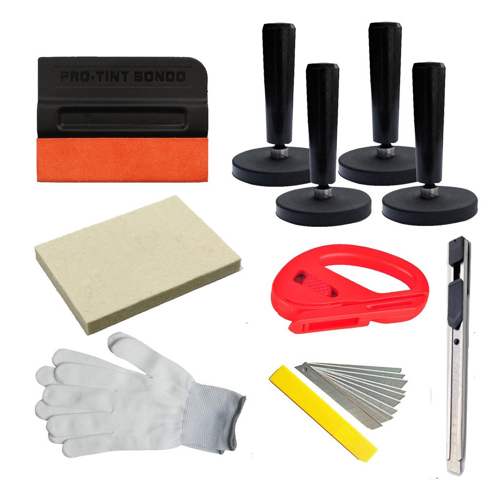 CARLAS Car Wrap Application Kit include 4 Inch Film Squeegees, Wool squeegee, Vinyl Cutters, Tint Magnet holders, Gloves