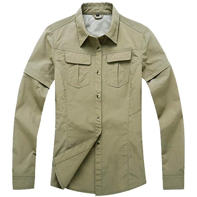 8df1d82885629 Women s Outdoor UPF 50+ Sun Protection Zip Off Convertible Long-Sleeve  Shirt  0285