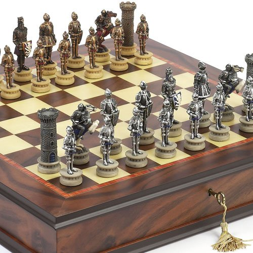 Medieval Hand Painted Chessmen & Luxury Milano Cabinet Board from Italy