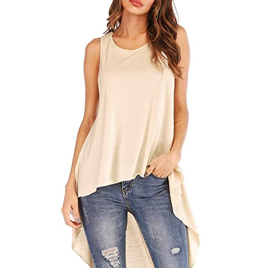 Ljnuanrg Fashion Women s Sleeveless Irregular Hem Solid Long Top T Shirt  Blouse (Beige