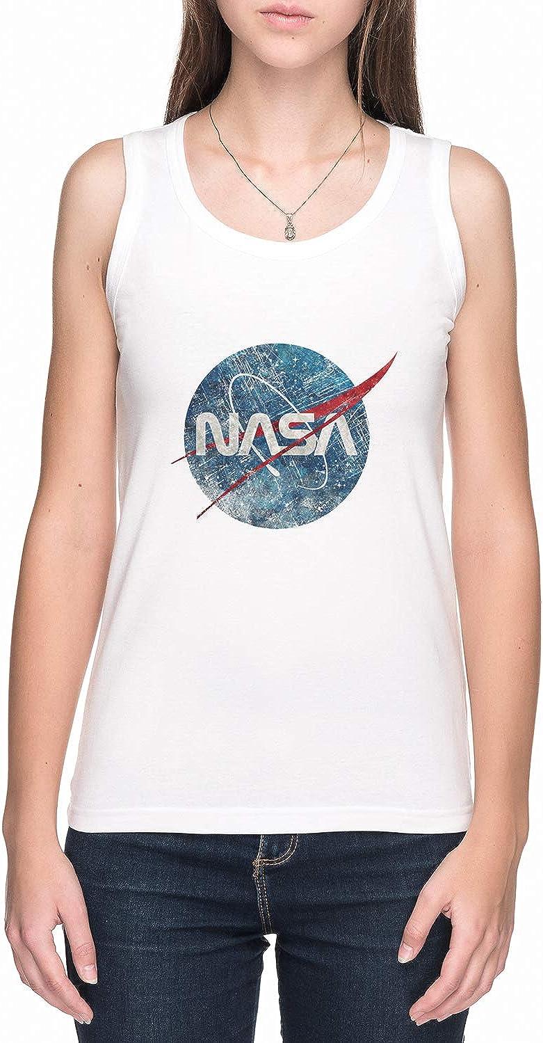 NASA Fusi/ón Emblema Ultra-Vintage NASA De Tirantes Camiseta Mujer Blanco