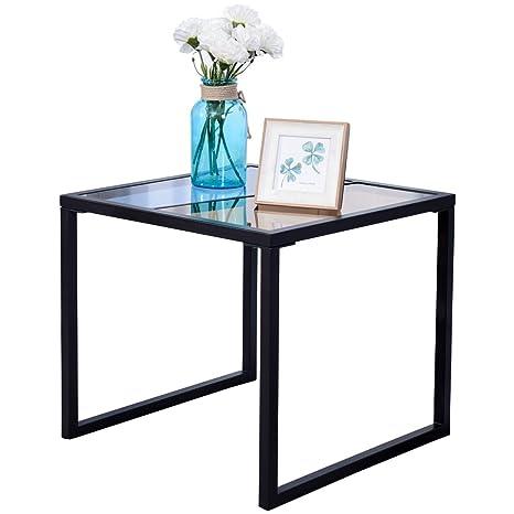 Amazon.com: Mesa auxiliar parte superior de vidrio templado ...