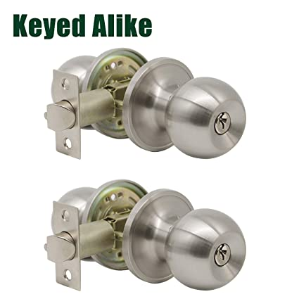 Genial Probrico 2 Pack Keyed Alike Entry Door Knobs With Lock And Key Ball Door  Knob Handles Entrance Door Lockset Satin Nickel Finished     Amazon.com