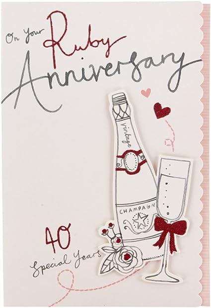 Hallmark - Tarjeta de felicitación de bodas de rubí (3D, tamaño ...