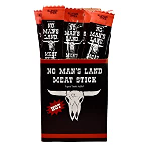 No Man's Land HOT Meat Sticks High Protein Low Calorie Low Carb Premium Meat Snack Carton of 24 1oz Sticks