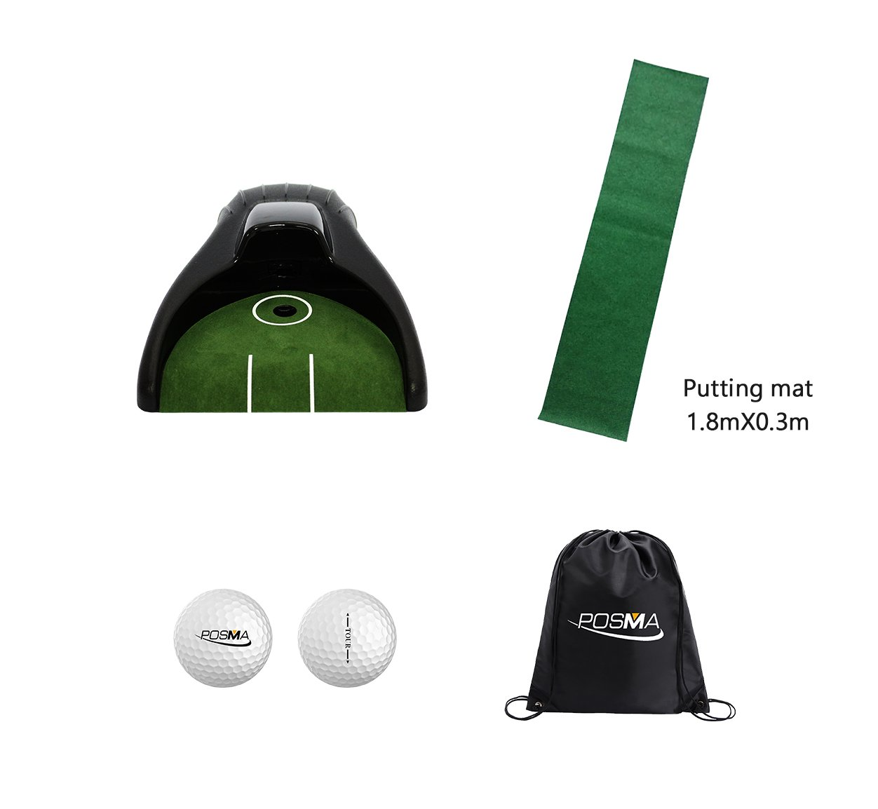 POSMA PG150B Golf Putter Training Putting Trainer Bundle Gift Set with Kickback Putt Cup, 6ft x 1ft Putt Mat, 2pcs Tour Ball, and Cinch Sack Carry Bag Golf Training Aid