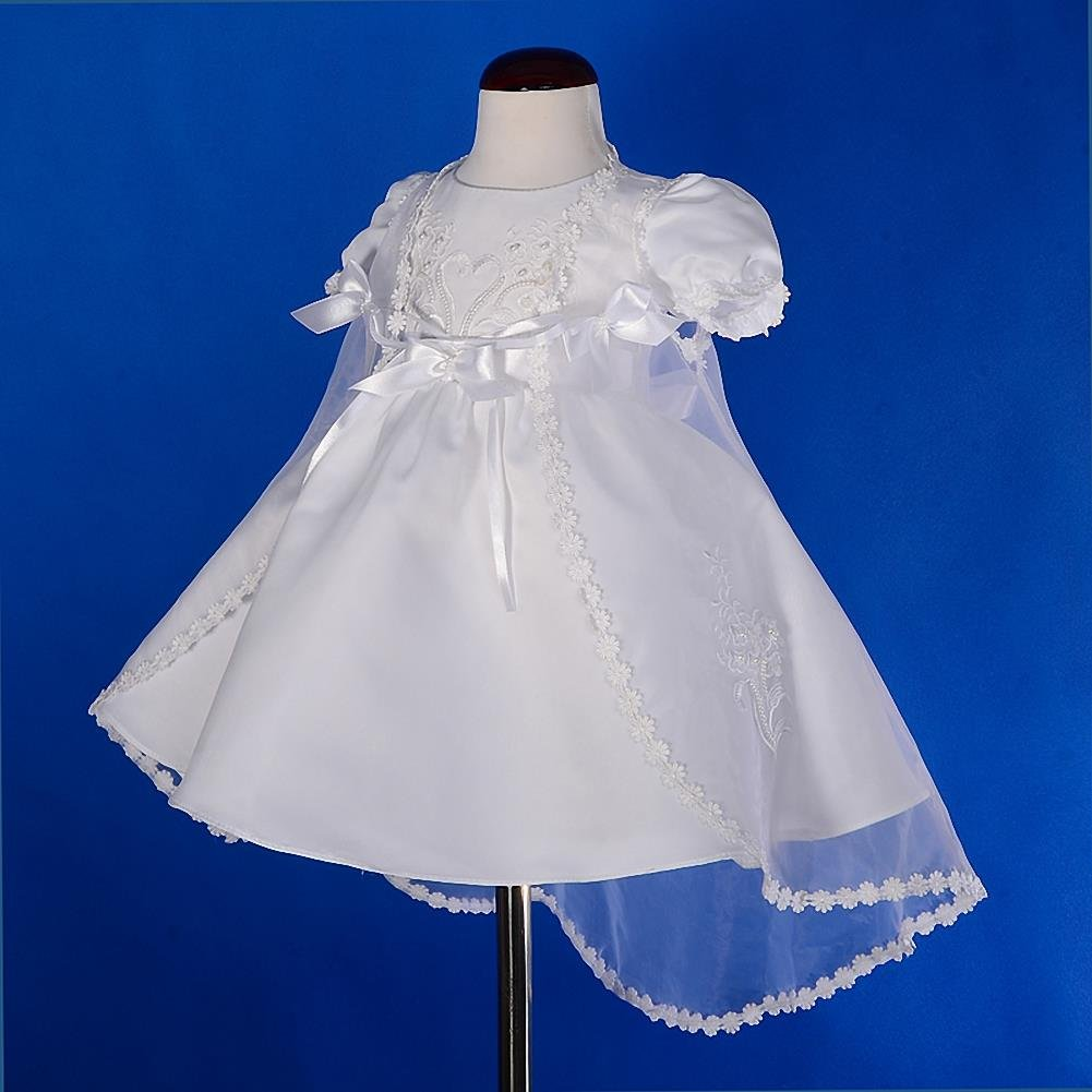 Lito Angels Baby Girls Pearls Embroidered Baptism Christening Gown Dress with Cape Bonnet Infant Size 0-12 Months CN009