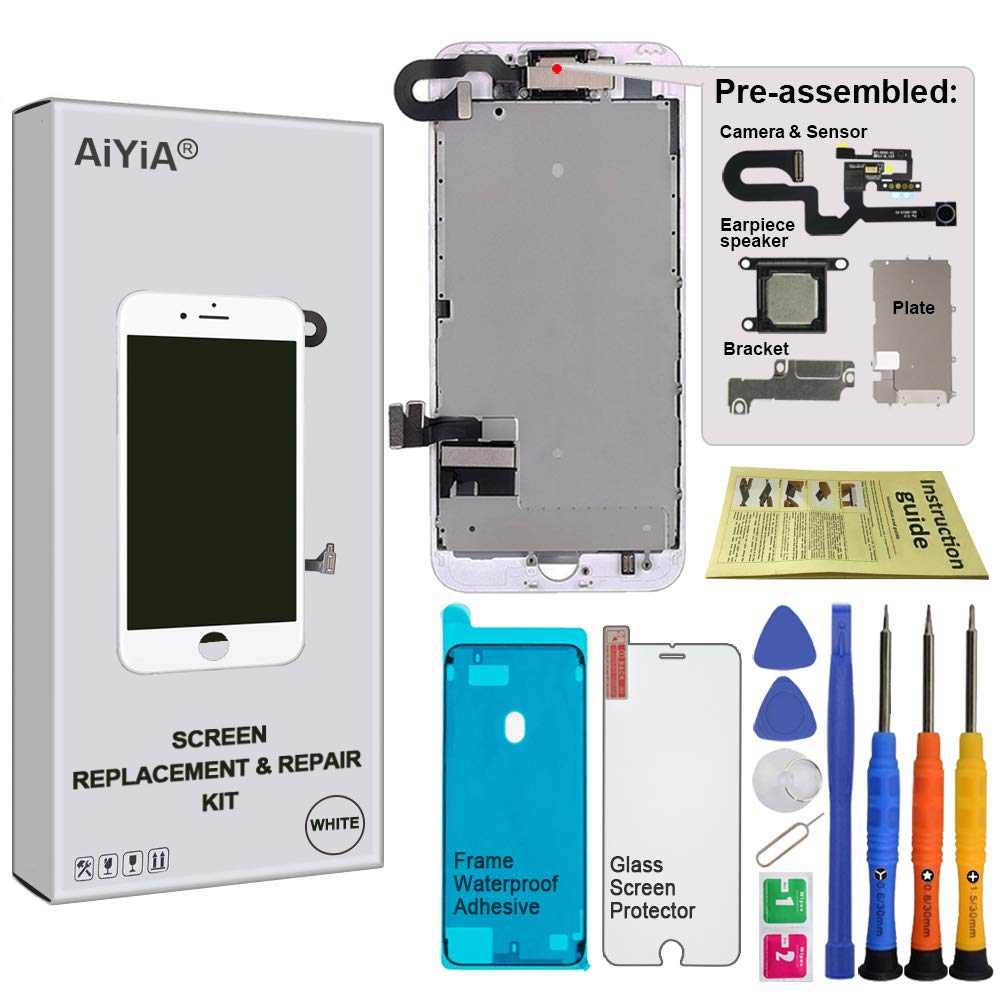 Screen Replacement for iPhone 7 Plus 5.5'' White - LCD Display Touch Digitizer Assembly with 3D Touch Front Camera Earpiece Speaker Waterproof Display Frame Adhesive Repair Tool Kis by AiYiA