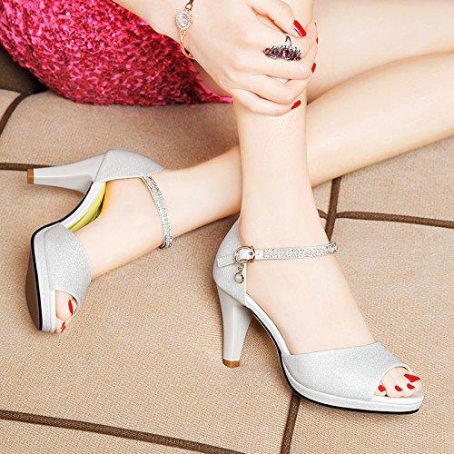 Moda Mujer verano sandalias confortables tacones altos,40 amarillo White