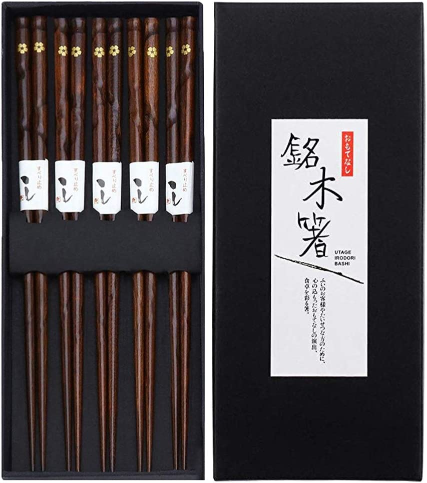 Black Cherry 5 Pairs Chopsticks KUAHAIHINTERAL Japanese Natural Wooden Chop Stick Reusable Classic Style Chopstick Set with Delicate Box as Present Gift
