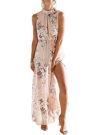 b246258002d126 Luojida Damen Lang Sommerkleider Strand Abendkleid Schulterfrei Maxikleid Off  Shoulder Elegant Blumendruck (XL, Pink