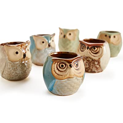 2.5 inch Owl Ceramic Flowing Glaze Pots Set