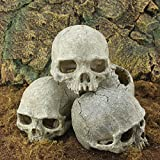 K&C Skull Aquarium Ornament Reptile Habitat Accessory Reptile Shelter Cave