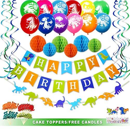 Dinosaur Party Supplies Birthday Party Decorations for Boys or Girls with Banner Garland Honeycombs Balloons Candles Cupcake Toppers and Foil Swirls Kit Dino Themed First Birthday Décor (55 Pieces) by Ajworld -