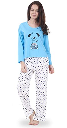 6b21dbe685 Ladies Long Sleeve Animal Print Womens Pyjama Set 100% Cotton PJ s Nightwear
