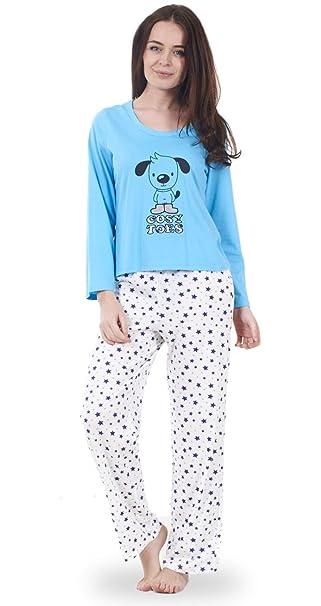 Ex Famous Store - Conjunto de pijama de manga larga estampado animales para mujer, 100