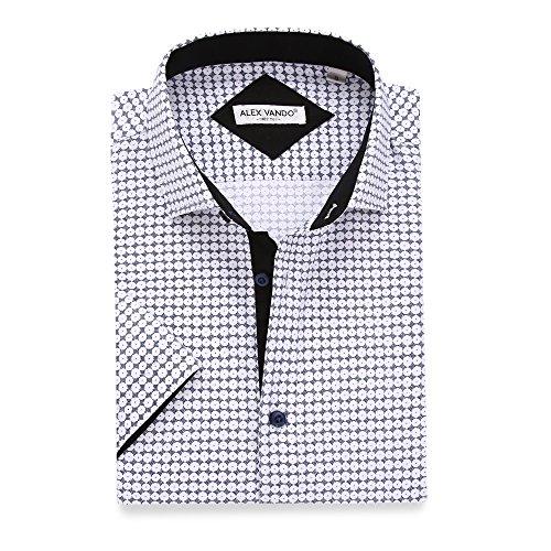 Alex Vando Mens Dress Shirts Casual Regular Fit Short Sleeve Printed Men Shirt(Navy1068,Large)