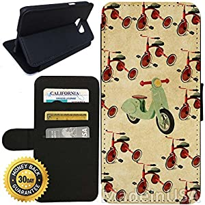 Flip Wallet Case for Galaxy S7 (Vintage Kids Tricycle Pattern) with Adjustable Stand and 3 Card Holders | Shock Protection | Lightweight | Includes Stylus Pen by Innosub
