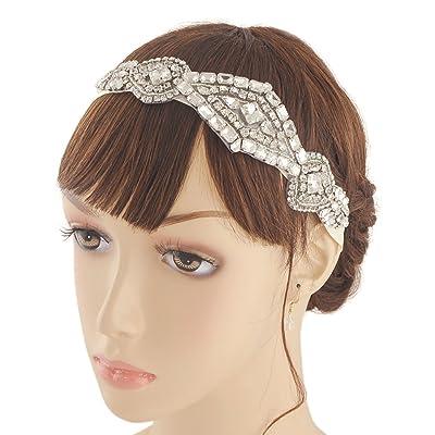 Bandeau de mariage avec cristaux, perles Mariage Bandeau, Floral mariée cheveux Band, bande de cheveux de mariage, H326