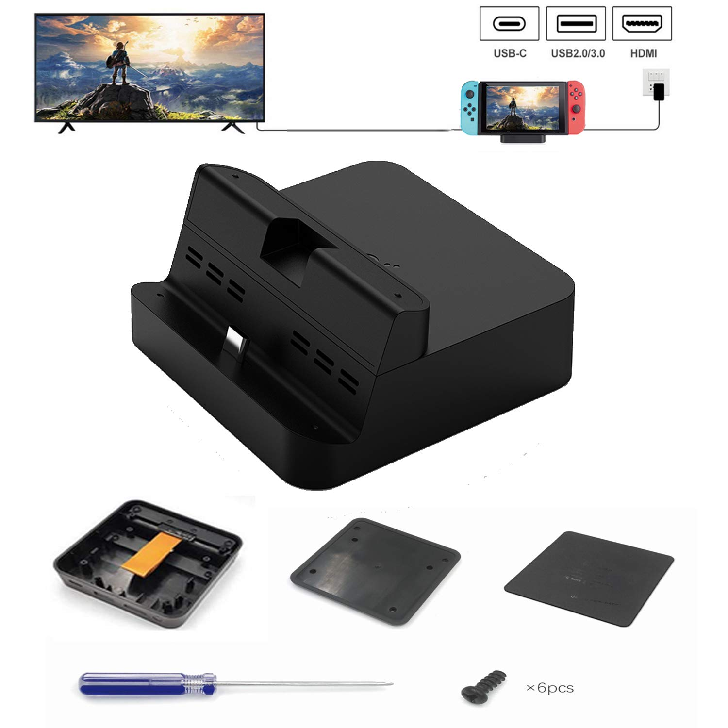 Kuxiu Gulikit Portable DIY Switch Dock Set Replacement Case Kit Compatible for Nintendo Switch, All Necessary Accessories Included Except Circuit Board Chip by KU XIU