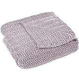 Blanket-100% Cotton King Chevron Luxury Soft Blanket by Lavish Home - Burgundy