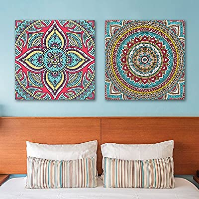 Quality Artwork, Stunning Picture, 2 Panel Square Exquisite Floral Pattern Patterns x 2 Panels