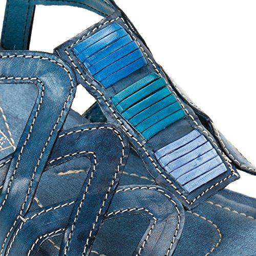 ALESYA by Scarpe&Scarpe - Plataformas con entrelazamiento decoradas, de Piel Azul