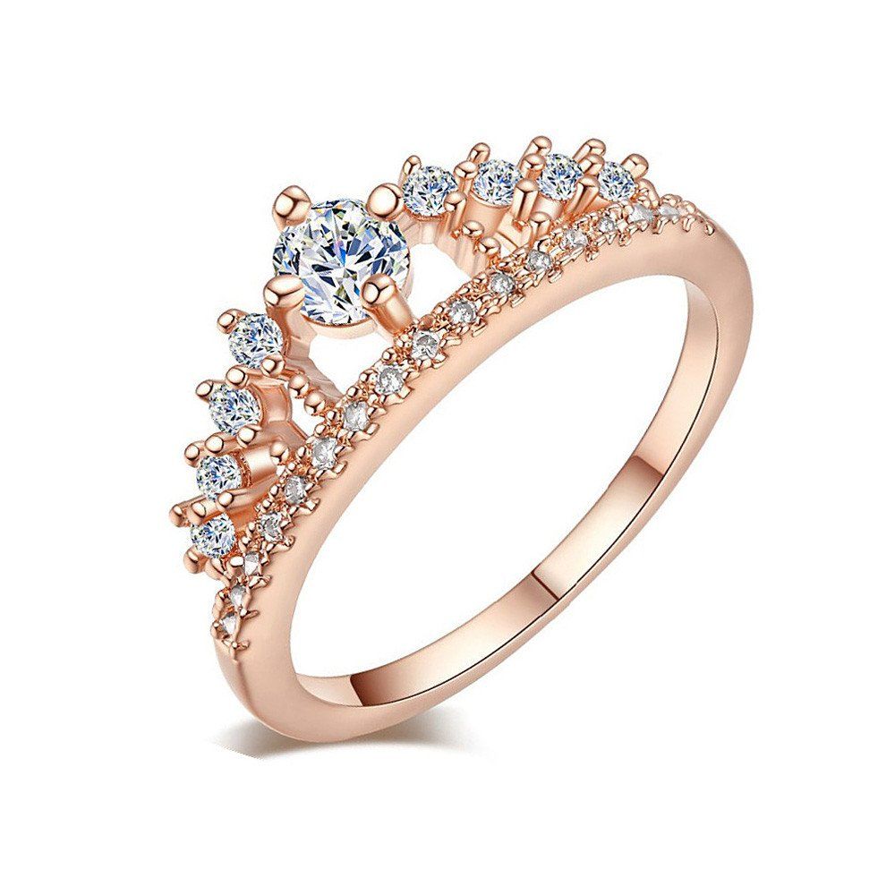 Rings for Women, DYTA Fashion Rose Gold Pretty Crown Lady Crystal Ring on Sterling Silver Simple Minimalist Princess Wedding Engagement Proposal Ring Birthday Gift for Women Girfriend