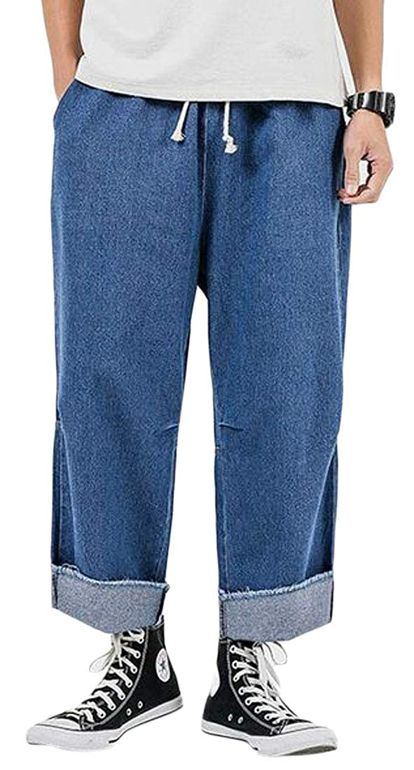 Fensajomon Mens Cut Off High Waist Loose Fit Casual Washed Drawstring Jeans Denim Pants