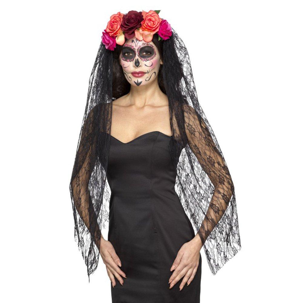 Smiffys Smiffys-44963 Diadema Deluxe del día de Muertos y con Rosas y Velo, Color Rojo y Negro, No es Applicable 44963: Amazon.es: Juguetes y juegos