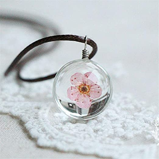 Glass Ball Necklace with Pink.