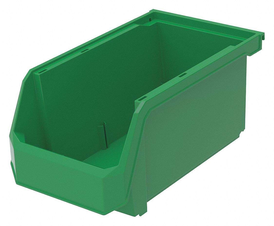 Hang and Stack Bin, Green, 14-3/4'' Outside Length, 8-1/4'' Outside Width, 7'' Outside Height pack of 5