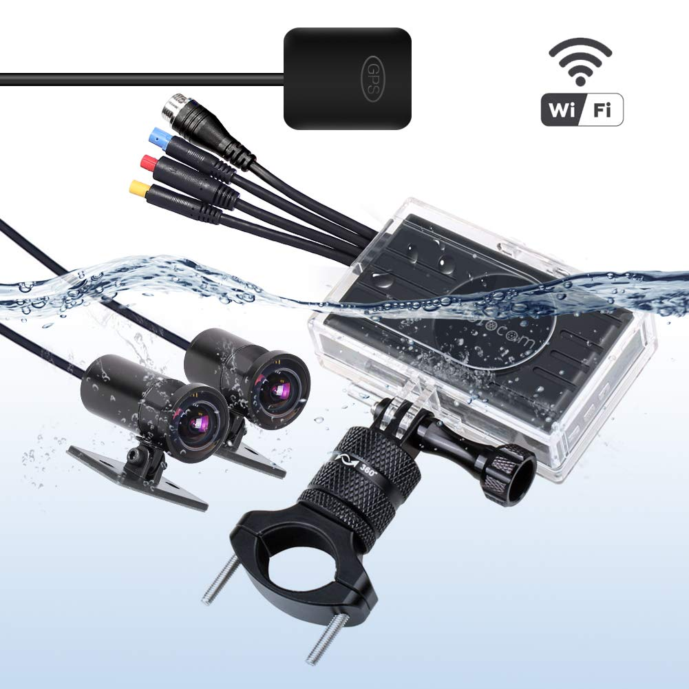 """Motorcycle Dash Camera M2F 3.0""""Screen,170°Updated Angle Lens,Sony IMX323 Chip,FHD(Front and Rear Both 1920P1080P),GPS, WiFi, Wire Contorller,Waterproof Case,Bracket,Motorbike Camera Kit"""
