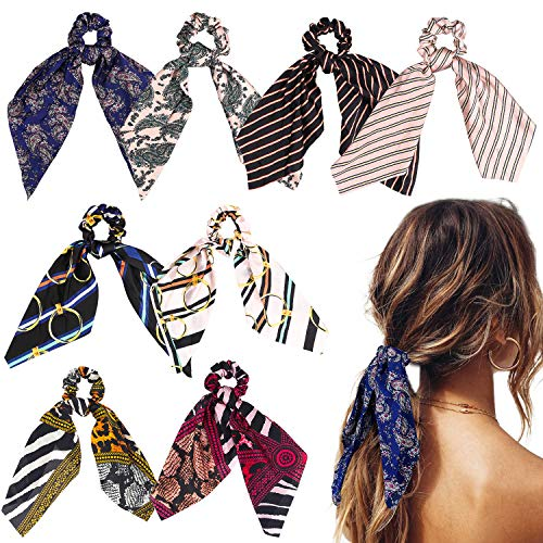 Professional Stripe Tie - WATINC 8Pcs Silk Satin Hair Scrunchies, Scarf Hair Ties with Flower Pattern, Stripe Printed Hair Bobbles for Ponytail Holder, 2 in 1 Vintage Bowknot Hair Accessories Ropes Scrunchie for Women