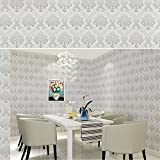 SimpleLife4U Vintage Gray Damask Removable Bedroom Wall Decor Sticker Self Adhesive Liner,18-Inches by 13-Feet