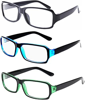 FancyG Vintage Inspired Classic Retro Style Rectangle Shape Glasses Frame Clear Lens Eyewear 3 Pieces Color Set10