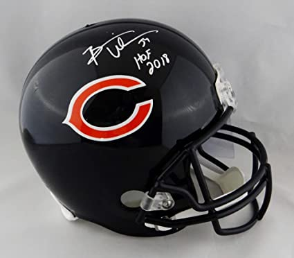 06491fbc3f8 Amazon.com: Brian Urlacher Autographed Chicago Bears F/S Helmet w/ HOF -  Beckett Auth White: Sports Collectibles