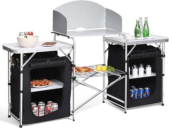 COSTWAY Mesa de Camping Plegable con Organizado Cocina de ...