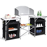 Giantex Folding Camping Kitchen Table w/ 2 Storage Organizer, Portable Aluminum Windscreen Cooking Table Easy-to-Clean, 2-Tie