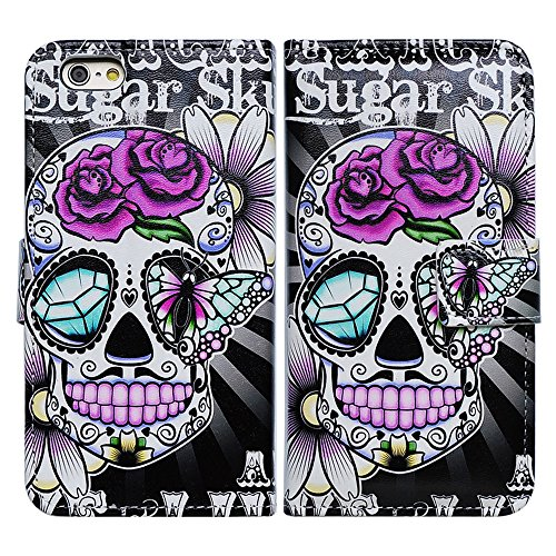 Skull Cover - Bfun Packing Bcov Brand Purple Flowers Floral Sugar Skull Card Slot Wallet Leather Case Cover For Apple iPhone 6 Plus/6S Plus AT&T Verizon Sprint