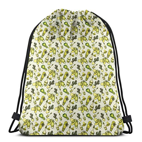 Unisex Drawstring Bag Gym Bags Storage Backpack,Mexican Themed Pattern With Sombrero Hat Cactus And Bottles