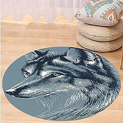 Kisscase Custom carpetAnimal Decor Wild Timber Wolf Portrait Hunter Exotic Creature Mystery Mammal Artsy Graphic for Bedroom Living Room Dorm Slate Blue