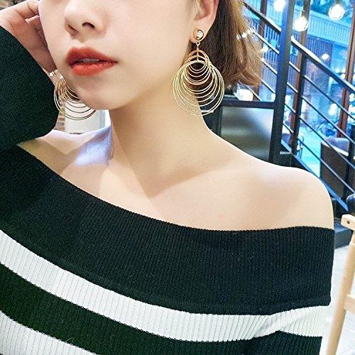 - Women Gift Retro Fashion Design Geometric Sense Metal Thread Round Earrings earings Dangler Eardrop Earrings Exaggerated Women Girls Fight on Behalf Really Ornaments Decorated us