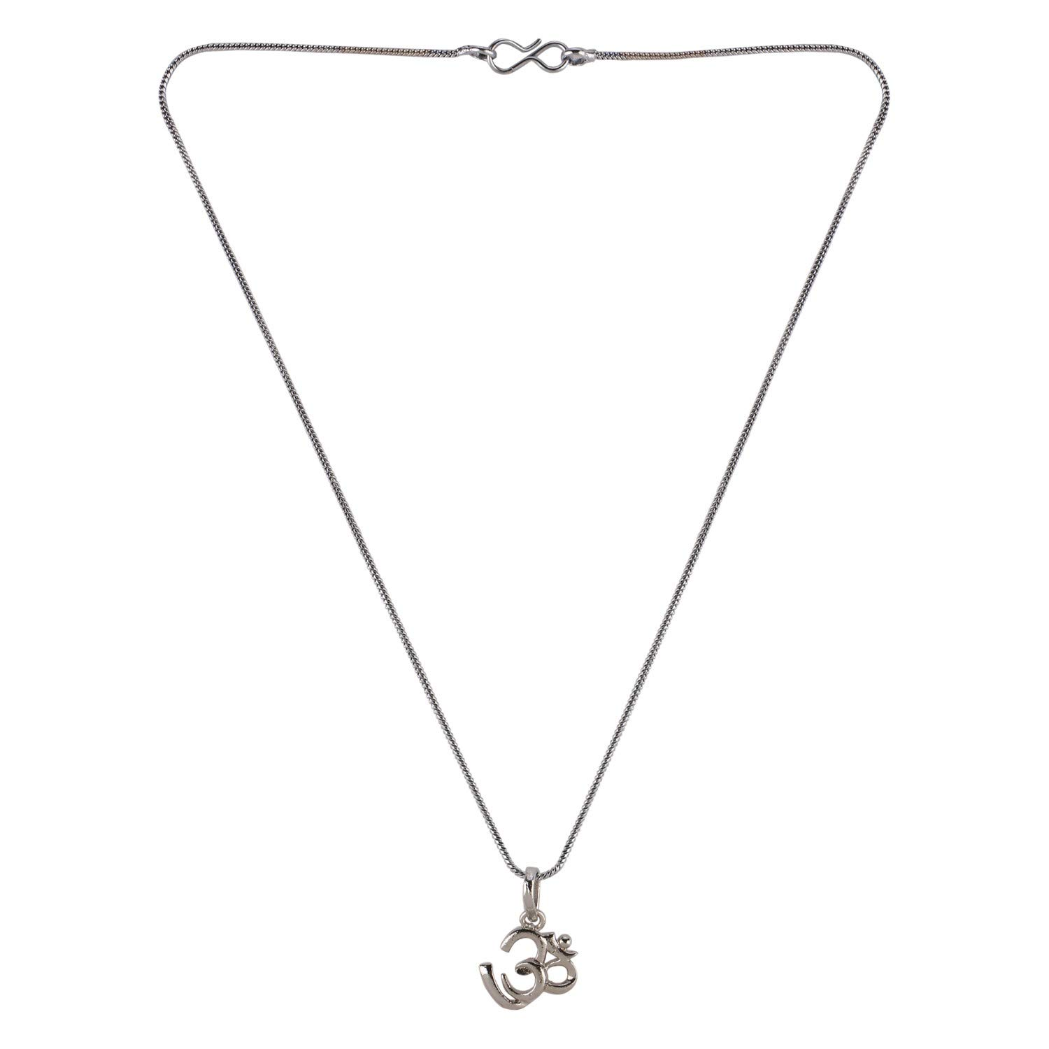 Efulgenz Silver Plated Religious OM Pendant Chain Necklace Jewelry for Women Girls Birthday Gift